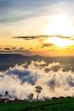 Naturlig solnedgångsoluppgång Phu Thap Boek, Phetchabun berg Landskaphimmel på solnedgången Dawn Sunrise Osedda Thailand Royaltyfri Fotografi