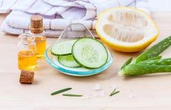 Naturlig Spa ingrediensgurka arkivbilder