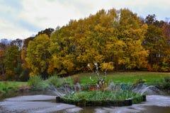 Naturlig springbrunn med ett dekorerat träd på ön i mitt av pölen med höstskogen i bakgrunden Royaltyfri Foto