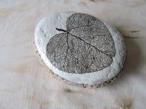 Naturlig sten med bladskelettet Arkivfoton
