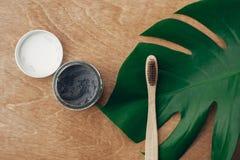 Naturlig tandkräm aktiverade kol i exponeringsglaskrus och bambutandborste på träbakgrund med det gröna monsterabladet plast- royaltyfria bilder