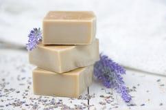 Naturlig tvål med lavendel Royaltyfri Bild