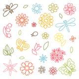 Naturlig uppsättning av härliga blommor, skalbaggar och stock illustrationer