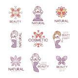 Naturlig uppsättning för skönhetsalong av hand drog tecknad film skisserade teckendesignmallar med det kvinnliga teckenet och Log Royaltyfri Bild