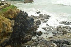Naturlig vågbrytare i det Cantabrian havet i Mundaca med omildheterna av orkanen hugo väderloppnatur Fotografering för Bildbyråer