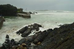 Naturlig vågbrytare i det Cantabrian havet i Mundaca med omildheterna av orkanen hugo väderloppnatur Royaltyfria Foton