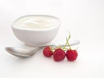 Naturlig yoghurt, yoghurt med hallon och sked över vit fotografering för bildbyråer