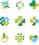 Naturliga alternativa symboler för växt- medicin stock illustrationer