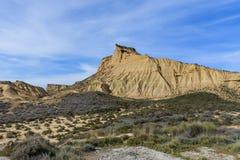 Naturliga Bardenas reales parkerar i Navarra, Spanien arkivbild