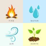 Naturliga beståndsdelar - brand, vatten, luft och jord Arkivbild