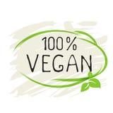 Naturliga bio sund organisk etikett för strikt vegetarianprodukt 100 och högkvalitativa produktemblem Eco, bio 100 och naturlig l stock illustrationer