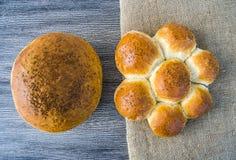 Naturliga brödbageribilder, kalkonbrödtyper, formade bröd, släntrar brödvariationer, olika typer av bröd på trägolv Royaltyfri Foto