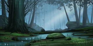 Naturliga Forest Park Fiktionbakgrund Begreppskonst realistisk ballonsillustration vektor illustrationer