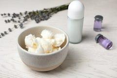Naturliga hemlagade deodorant och ingredienser arkivbild