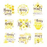 Naturliga Honey Products 100 procent organisk uppsättning av färgrika mallar för Promoteckendesign med bin och honungskakor Royaltyfri Foto