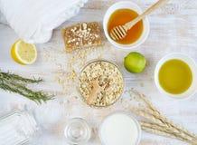 Naturliga ingredienser för hemlagad havrekroppframsida mjölkar skurar royaltyfria foton