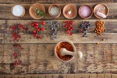 Naturliga ingredienser för hemlagade skönhetsmedel i bunkenolla royaltyfri foto