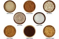 Naturliga ingredienser som gör ansiktsbehandling/huvuddelen att skura arkivfoton