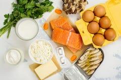 Naturliga källor av vitamin D och kalcier royaltyfri bild