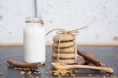Naturliga kakor med mjölkar arkivfoton