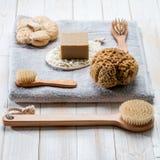 Naturliga kroppomsorgprodukter för hållbar och sund tvätt upp Royaltyfri Bild