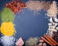 Naturliga kryddor och örter spridde kritiserar på magasinet på en gammal lantlig tabell Naturliga och bio ingredienser för att la Fotografering för Bildbyråer