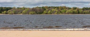 Naturliga linjer, sand, vatten, skog, himmel på en molnig dag royaltyfri fotografi