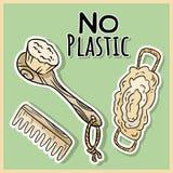 Naturliga materiella duschobjekt Ekologisk och noll-avfalls produkt Gr?nt hus och plast--fri uppeh?lle royaltyfri illustrationer