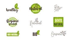 Naturliga, organiska bio matetiketter och logoer ställde in royaltyfri bild