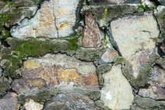 Naturliga stänk för tegelstenstenvägg av mossa och kristallisk struc Fotografering för Bildbyråer