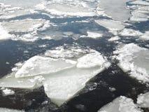 Naturliga vita iskvarter som bryter upp mot kust- och havsis under att frysa vårväder royaltyfria bilder