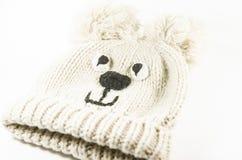 Naturliga woolen varma behandla som ett barn hatten för vinter Roligt och härligt Arkivfoto