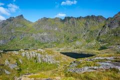 Naturligt berglandskap på sommar i Lofoten, Norge arkivbild