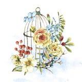 Naturligt blom- hälsa kort för gullig vattenfärg med den vita rosen royaltyfri illustrationer