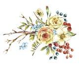 Naturligt blom- hälsa kort för gullig vattenfärg med den vita rosen stock illustrationer