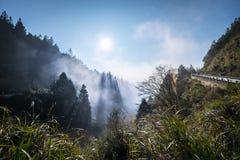 Naturligt landskap av dimma och mist med berget och treelines arkivbilder
