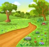 Naturligt landskap för tecknad film Arkivbild