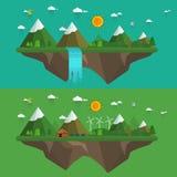 Naturligt landskap i den plana stilen royaltyfri illustrationer