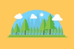 Naturligt landskap i den plana stilen en härlig forestVectorillustration royaltyfri illustrationer