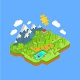 Naturligt landskap med berg flod och skog Royaltyfri Illustrationer