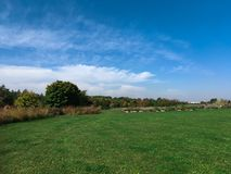 Naturligt landskap med blå himmel arkivfoton
