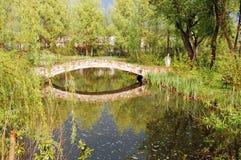 Naturligt landskap med floden, stenbro, stormig himmel, bygd Arkivfoto