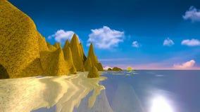 18 naturligt landskap, solnedg?ng och hav med reflexioner fr?n land vektor illustrationer