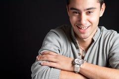 naturligt leende för lycklig joyful man royaltyfri fotografi