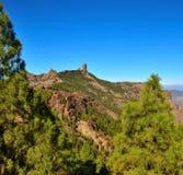 Naturligt parkera Roque Nublo med bakgrund för blå himmel, Gran canaria, kanariefågelöar Royaltyfria Bilder
