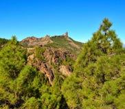 Naturligt parkera Roque Nublo med bakgrund för blå himmel, Gran canaria, kanariefågelöar Fotografering för Bildbyråer