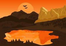 Naturligt sommarlandskap med bergsjön och konturn av fåglarna på solnedgången Royaltyfri Foto
