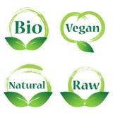 Naturligt strikt vegetarian, bio emblem stock illustrationer