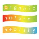 Naturligt sunt organiskt etikett eller baner Royaltyfri Fotografi