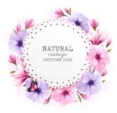 Naturligt tappninghälsningkort med cdolorful blommor vektor illustrationer